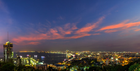 Panorama of Pattaya City at twilight in Chonburi, Thailand