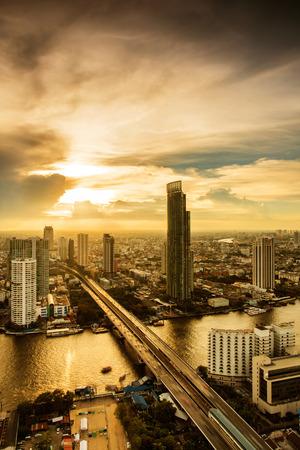 City of Bangkok with his skycrapers at sunset