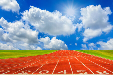 Running track with sky and clouds