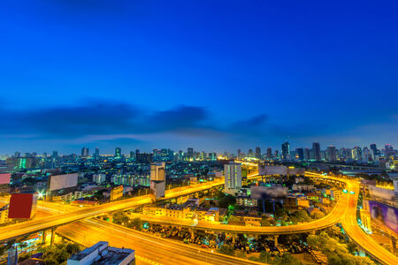 Modern building in Bangkok city at twilight,Thailand