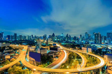 Modern building in Bangkok city at twilight,Thailand