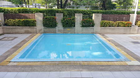 Children's pool . Small swimming pool with 60 cm depth sign.