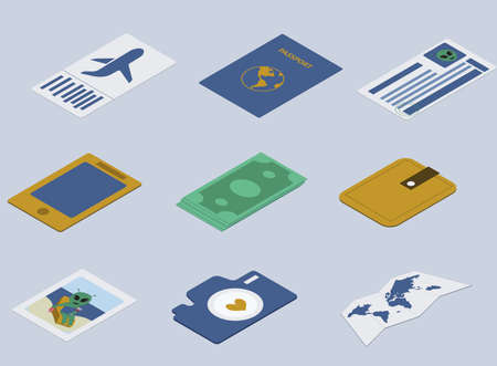 Set of colored icons travelling. Travel documents, visa, plane ticket, phone, camera, map. Can be used by travell agencies. Isometric. Illusztráció