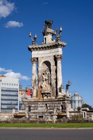 espanya: Monument of the  Espanya  Spain Square  of Barcelona  Stock Photo
