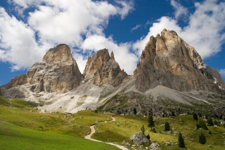 dolomites: The three peaks of the Sassolungo  Langkofel  in the Dolomites, Italy  Stock Photo