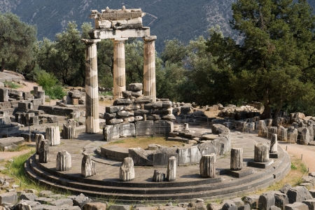 Tholos at the sanctuary of Athena Pronaia, Delphi, Greece. photo
