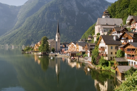 Hallstatt, the most beautiful lake town in the world, Austria. photo