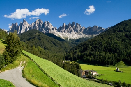 trentino: Valley of Funes  Villnoss  with the Odle mountains in the background, Dolomites, Italy