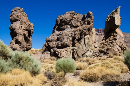vulcanology: Volcanic rock formations on Los Roques in the Teide National Park, Tenerife, Canary Islands