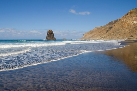 The beach of black sand of Benijo in the northeast of Tenerife, Canary Islands. Stock Photo