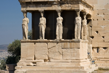 caryatids: Porch of the Caryatids of the Erechthion temple at Acropolis, Athens, Greece
