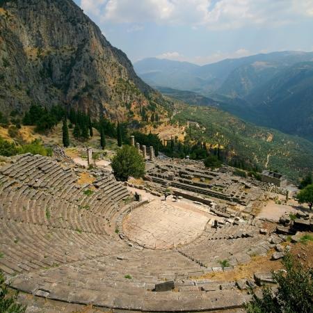 grecia antigua: Ruinas del teatro de Delfos, Grecia Foto de archivo