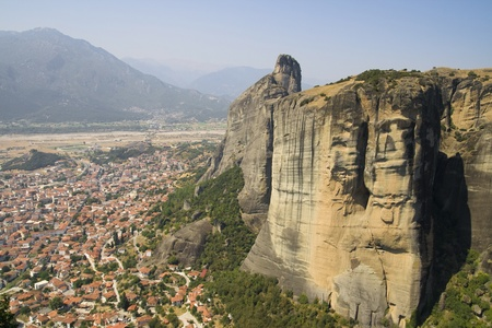 kalambaka: Overview on the town of Kalambaka, at the foot of the Meteora mountain range, from the Holy Trinity Monastery, Greece.