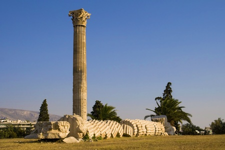 olympian: Collapsed column on Temple of Olympian Zeus, Athens, Greece