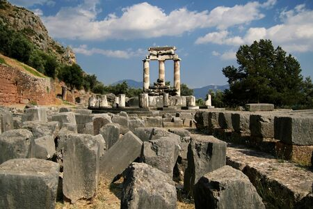 Ruins of the Tholos of Delphi, Greece  Home of the oracle  photo