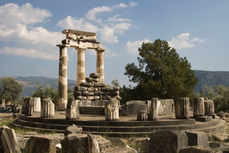 Tholos at the sanctuary of Athena Pronaia at the archaeological Site of Delphi, Greece  photo