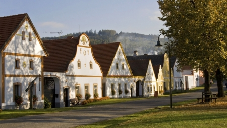 bohemia: Rustic houses on the small village of Holasovice, South Bohemia, Czech Republic