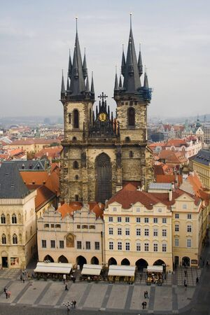 tyn: Overview on Old Town square and the Church of Our Lady before Tyn, Prague, Czech Republic  Stock Photo