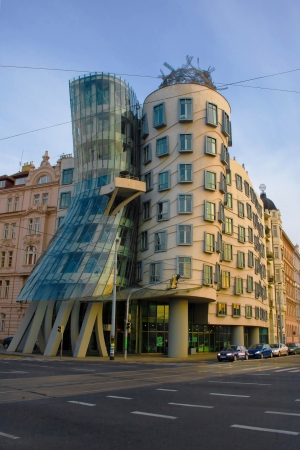 frank gehry: Dancing House  Tancici Dum , also known as Ginger and Fred, by Vlado Milunic and Frank Gehry, Prague, Czech Republic  The building was designed in 1992 and completed in 1996