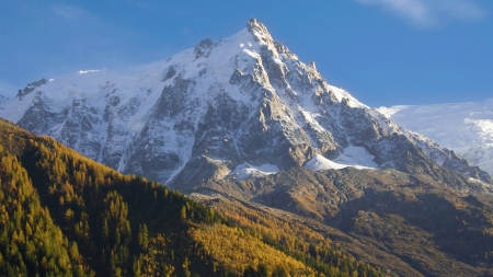 massif: The Aiguille du Midi in the Montblanc massif from Chamonix, France
