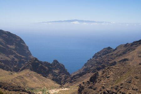 ravine: Ravine of Masca with the island of La Gomera in the background, Canary Islands