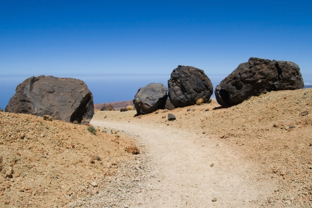 accretion: Accretion balls on the footpath to the summit of mount Teide, Tenerife, Canary Islands