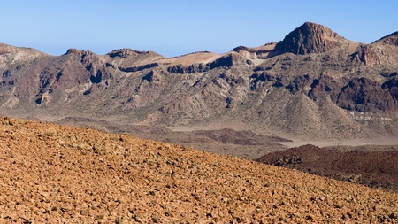 vulcanology: Caldera of Mount Teide with aa lava in the foreground, Tenerife, Canary Islands