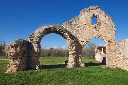Ruines des thermes romains de la villa de Centcelles, la province de Tarragone, en Espagne Banque d'images