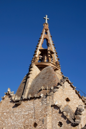 cor: Belfry of the church of Sagrat Cor in Vistabella, La Secuita, Catalonia  Stock Photo