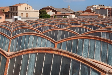 amat: Roof in Catalan Vault style of the former factory Vapor Aymeric, Amat i Jover in Terrassa, Spain  Stock Photo