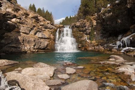 ordesa: Waterfall of Soaso in the National Park of Ordesa, Spain  Stock Photo