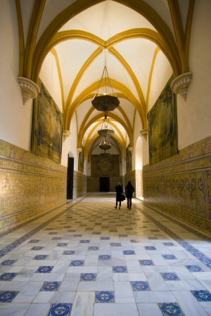 vaulted: Large vaulted hall in the Royal Alcazars in Seville, Spain