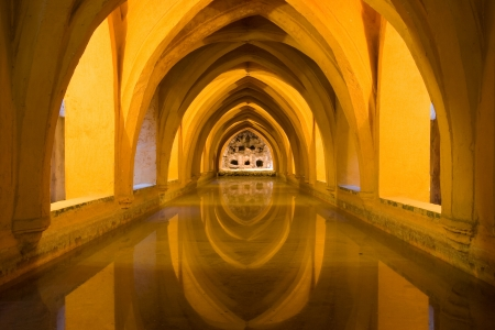 padilla: Reflected arches in the Baths of Lady Maria de Padilla  Banos de dona Maria de Padilla  in the Royal Alcazar, Seville, Spain  Editorial