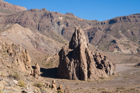 vulcanology: The rocky dome of La Catedral and the Ucanca plains in the Teide National Park, Tenerife, Canary Islands, Spain  Stock Photo