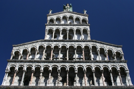 inlays: Facade of San Michele in Foro church in Lucca, Italy  Stock Photo