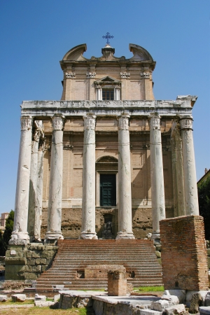 Temple of Antoninus and Faustina in the Roman Forum of Rome, Italy  photo