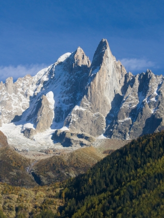 massif: Aiguille du Dru in the Montblanc massif, French Alps  Stock Photo
