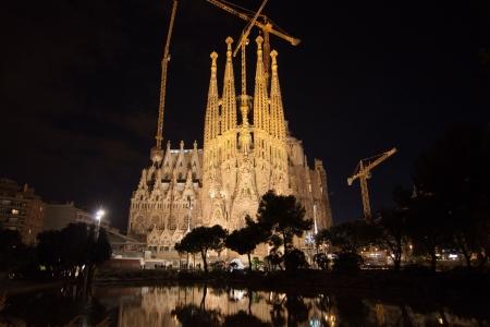 Basilica of La Sagrada Familia at night in Barcelona