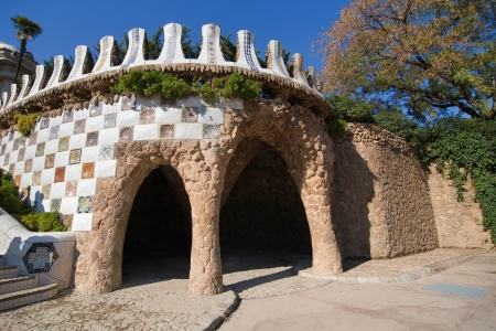 Carriage porch at the main entrance of Park Guell, Barcelona, Catalonia  Stock Photo