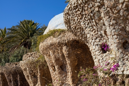 Baroque details of the Carobs Viaduct  Viaducte dels Garrofers  of the Park Guell, Barcelona, Catalonia