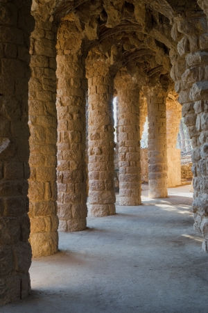Colonnade of the Lovers Viaduct  Viaducte dels Enamorats  of the Park Guell, Barcelona, Catalonia Editorial