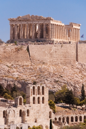 Parthenon temple and Odeon of Herodes Atticus in the Acropolis of Athens, Greece