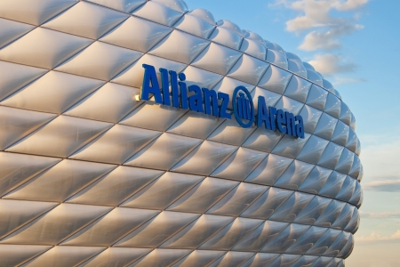 arena: Munich, Germany - October 24, 2006: Detail of the membrane shell of the football stadium Allianz Arena in Munich, Germany, designed by Herzog & de Meuron and ArupSport and built between 2002 and 2005. Editorial