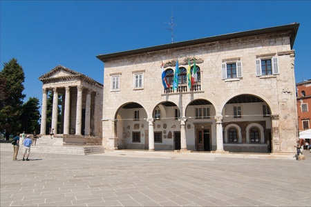 old town townhall: Temple of Augustus and Town Hall of Pula, Croatia