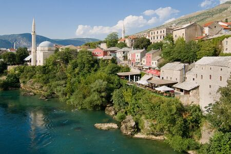 neretva: Old town of Mostar and Neretva river from the Old Bridge  Stari Most , Bosnia and Herzegovina