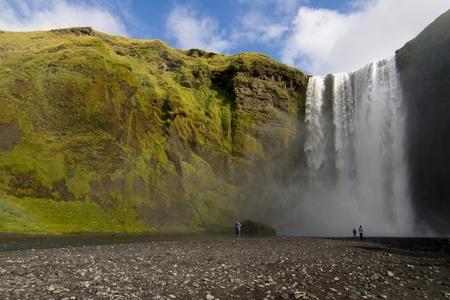 skogafoss waterfall: Skogafoss waterfall in summer, Skogar, Iceland