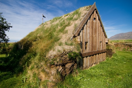 chappel: Little church with grass roof in the north of Iceland