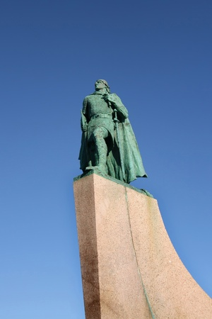 leif: Statue of Leif Eriksson  or Leifur Eiriksson , explorer regarded as the first European to land in North America, Reykjavik, Iceland  Stock Photo