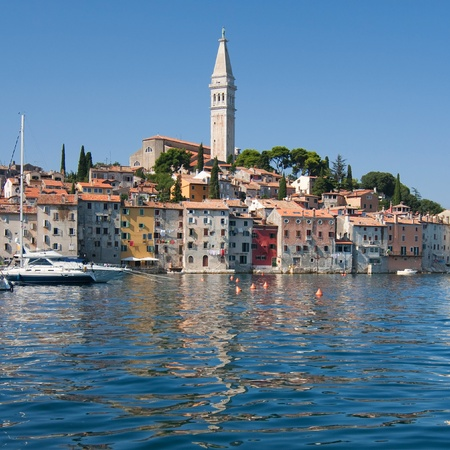 Town of Rovinj with the Saint Euphemia basilica on the top, Croatia  photo