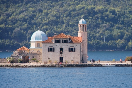 islet: Catholic church of Our Lady of the Rocks on an islet of the Bay of Kotor, Montenegro